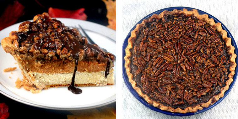 Cheesecake-Pumpkin-Pecan-Pie