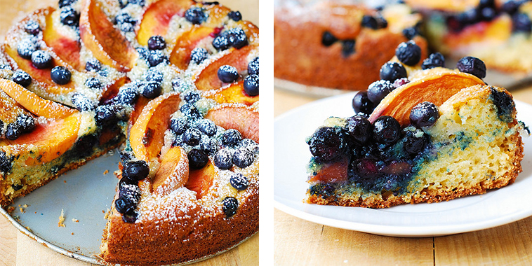 ... peach and blueberry cake paired with a cup of tea or coffee. Simply